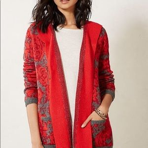 Anthropologie | Maraschino Floral Sweater Coat Sm